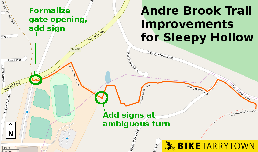 Map showing the Andre Brook Trail and some improvements needed.