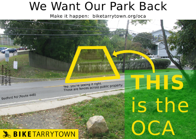 THIS is the OCA. Photo showing where the OCA REALY goes south of Bedford Rd in Sleepy Hollow